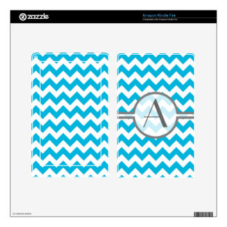 Momogram with Blue Chevrons Decal For Kindle Fire