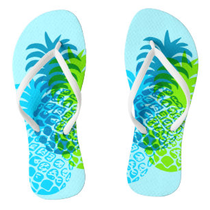 e7962a75c Momona Pineapple Hawaiian Tropical Reversible Flip Flops