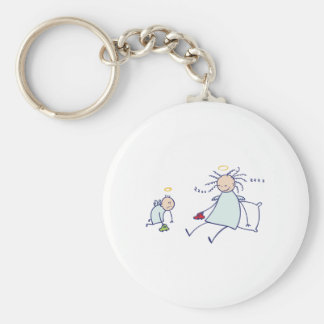 Moms are not angels basic round button keychain