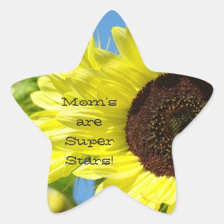 Mom's are Super Stars stickers Sunflowers Mom