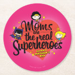Moms Are The Real Superheroes Round Paper Coaster