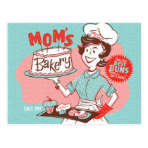 Mom's Bakery Retro Mother's Day Postcard