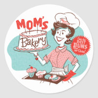 Mom's Bakery Retro Stickers — Round