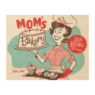 Mom's Bakery Retro Wood Sign 14x11 (CUSTOMIZABLE) Wood Canvases