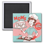 Mom's Bakery Vintage-Style Square Magnet (Green)