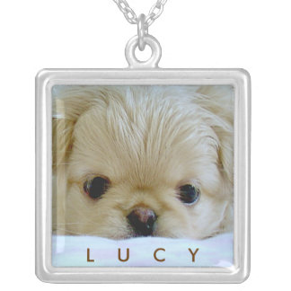 Mom's best friend / Dog photo template Square Pendant Necklace