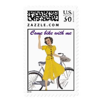 Mom's bike lady postage