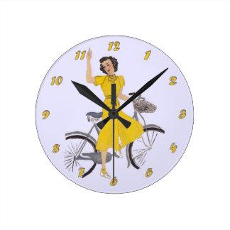 Mom's Bike Lady Round Clock