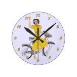 Mom's Bike Lady Round Clocks