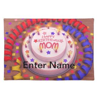 Mom's Birthday Cake Cloth Placemat