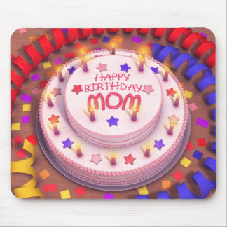 Mom's Birthday Cake Mouse Pads