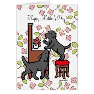 Mom's Black Lab Puppy Duo Card