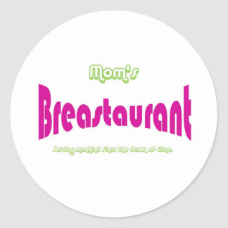 Mom's Breastaurant Round Stickers