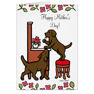 Mom's Chocolate Lab Puppy Duo Card