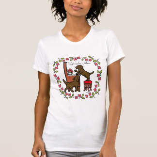 Mom's Chocolate Lab Puppy Duo Floral T-Shirt