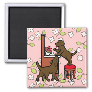 Mom's Chocolate Lab Puppy Duo Refrigerator Magnets