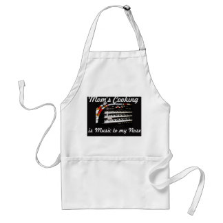 Mom's Cooking is Music to my Nose Apron, White Adult Apron