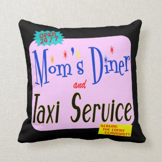 Moms Diner and Taxi Service Retro Pillow