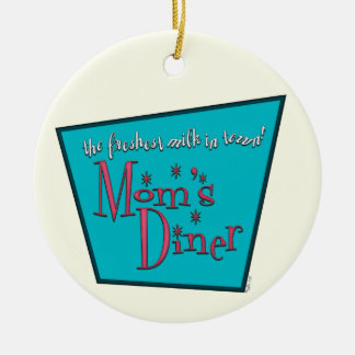 Moms Diner: Breastfeeding Double-Sided Ceramic Round Christmas Ornament