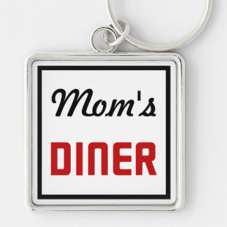 Mom's Diner Silver-Colored Square Keychain