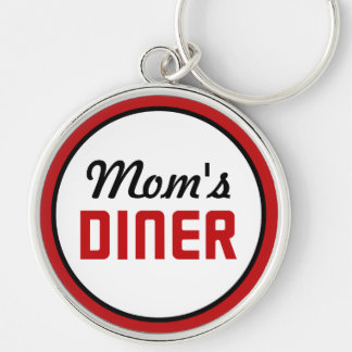 Mom's Diner Silver-Colored Round Keychain