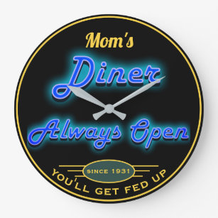 Mom's Diner or Any Name Always Open Neon Look - Large Clock