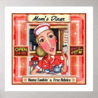 Mom's Diner Retro Kitchen Art Poster Print