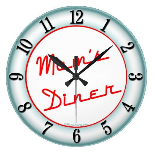 Moms Diner Retro Kitchen Wall Clock Zazzle