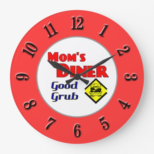 Mom 39 S Diner Retro Red Kitchen Clock Zazzle