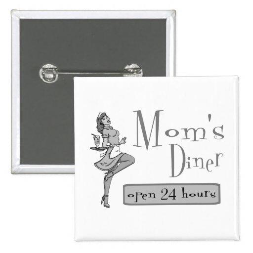 Mom's Diner Retro Waitress Black & White Pinback Button