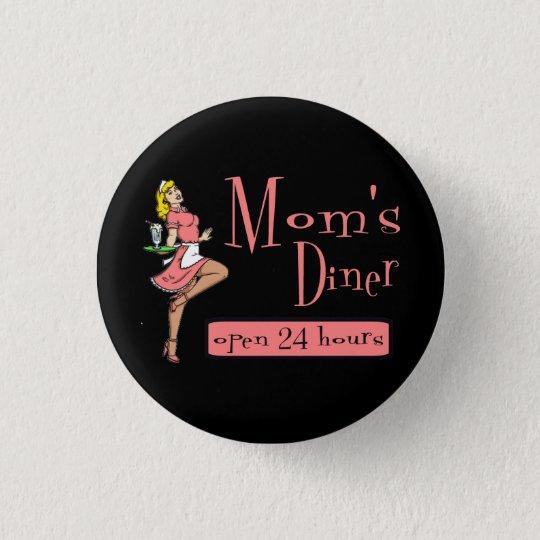 Mom's Diner Retro Waitress Blonde Pinback Button