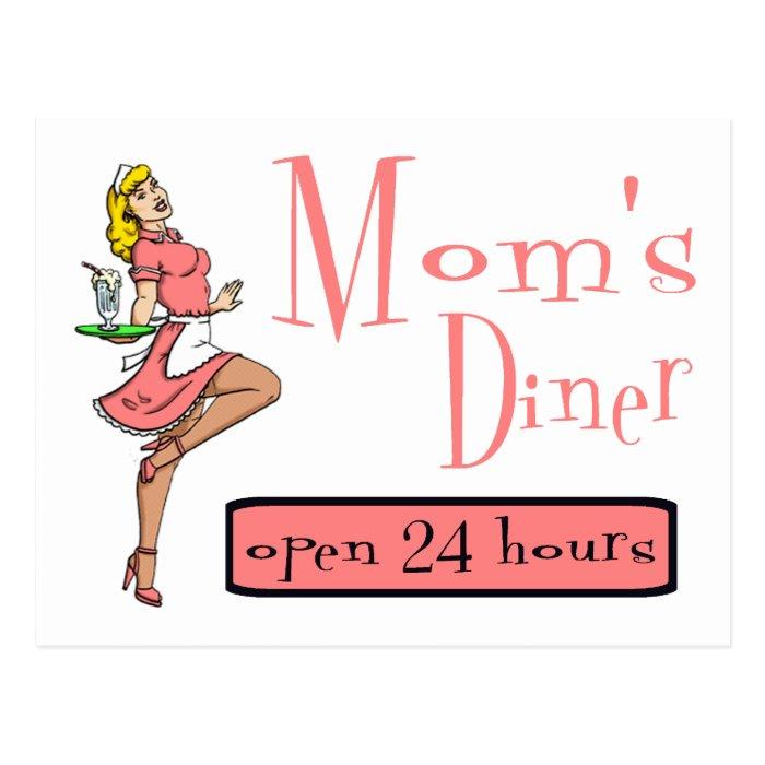 Mom's Diner Retro Waitress Blonde Postcard