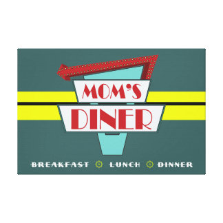 Mom's Diner Sign 36 x 24 Stretched Canvas