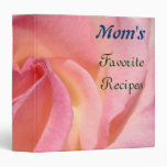 Mom's Favorite Recipes binders Pink Rose Flowers