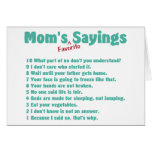 Mom's favorite sayings on gifts for her. stationery note card