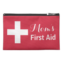 Mom's First Aid Personalized Red Emergency Kit Travel Accessory Bag