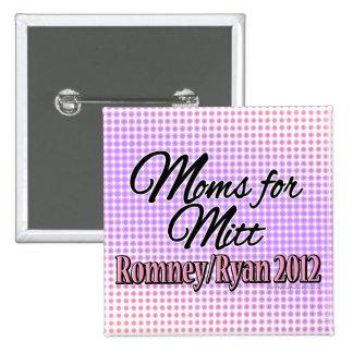 Moms for Mitt, Romney/Ryan 2 Inch Square Button
