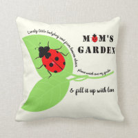 Mom's Garden Ladybug Square Throw Pillow