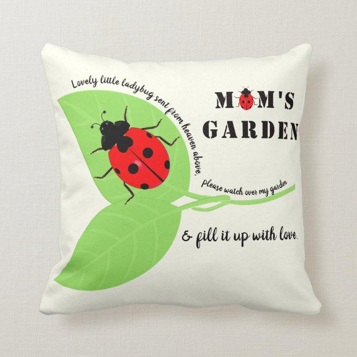 Mom S Garden Ladybug Square Throw Pillow Zazzle Com