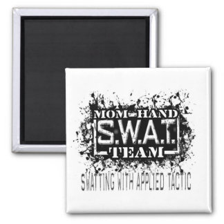 Mom's Hand SWAT Team 2 Inch Square Magnet
