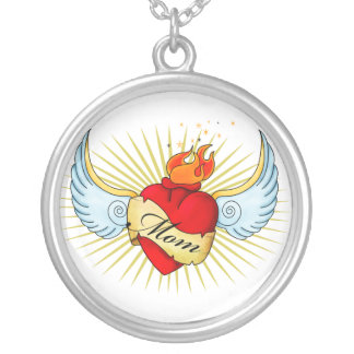 Mom's Heart Round Pendant Necklace