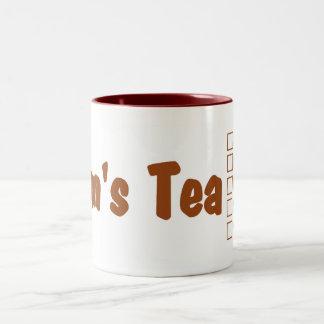 Mom's hot tea mug: Hot tea made perfectly. Two-Tone Coffee Mug