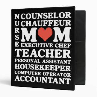 Mom's Jobs Funny Mother's Day Binder for Recipes