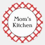 Mom's Kitchen Custom Red Lattice Sticker