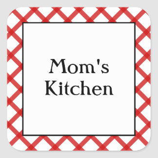 Mom's Kitchen Custom Saying Red Checks Sticker