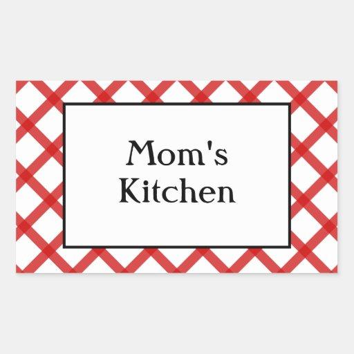 Moms Kitchen Custom Saying Red Checks Sticker