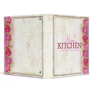 Mom's Kitchen Rose Embroidary Recipe Binder binder