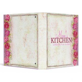 Mom's Kitchen Rose Embroidary Recipe Binder binder