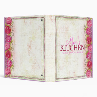 Mom's Kitchen Rose Embroidary Recipe Binder
