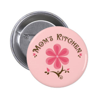 Mom's Kitchen Whimsical Flower Pinback Button